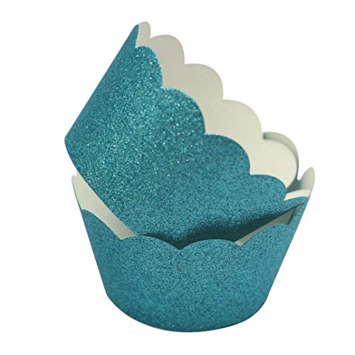 Mybbshower Teal Glitter Scalloped Paper Cupcake Liners for Wedding Birthday Bachelorette Table Decoration Pack of 24]()