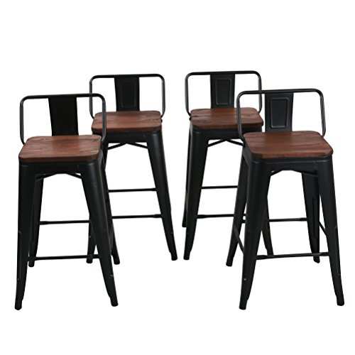 Low Back Metal Bar Stool for Indoor-Outdoor Kitchen Counter Bar Stools Set of 4 (24 inch, Low Back Black with Wooden Top) (Stool Counter With Back 24)