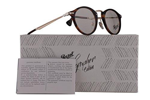 Persol PO3167V Calligrapher Edition Eyeglasses 47-22-145 Havana w/Demo Clear Lens 24 PO 3167-V PO3167-V PO - Clear Persol Frame