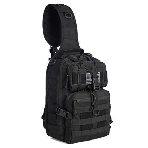 J.CARP Tactical Sling Bag Pack Military Rover Shoulder Sling Backpack EDC Molle Assault Range Bags Day Pack w/Tactical USA Flag Patch Black (Best Tactical Sling Backpack)