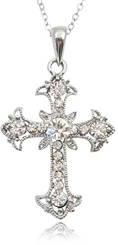 Beautiful Crystal Filigree Cross Pendant Necklace Silver Tone for Teens, Women and Girls