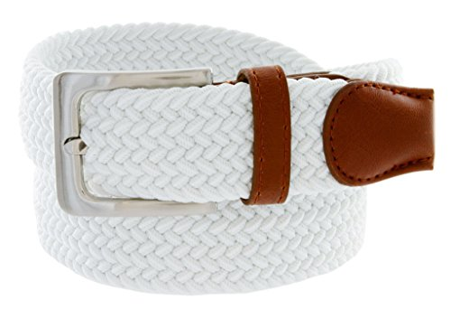 Mens Braided Elastic Fabric Woven Stretch Belt Leather Inlay (White, Small)