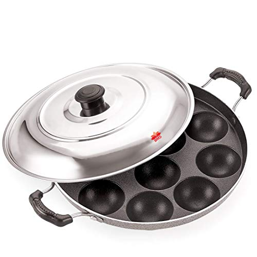 BMS Lifestyle 12 Cavity Non Stick Aliminium Appam Patra,paniyarakal with 2 Side Handle and Stainless Steel lid, Color May Vary
