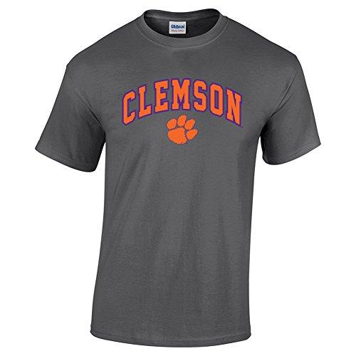 Elite Fan Shop Clemson Tigers Tshirt Arch Charcoal - 2XL - Dark Heather Gray Grey