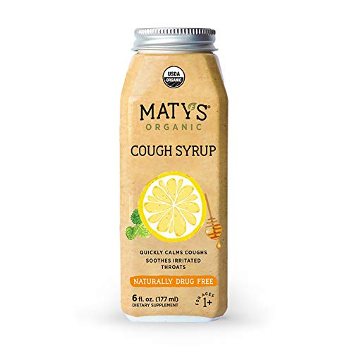 Matys Organic Cough Syrup, 6 Fluid Ounce, Soothes Throats & Calms Dry Coughs with Organic Honey and Immune Boosting Ingredients (The Best Cough Syrup For Dry Cough)