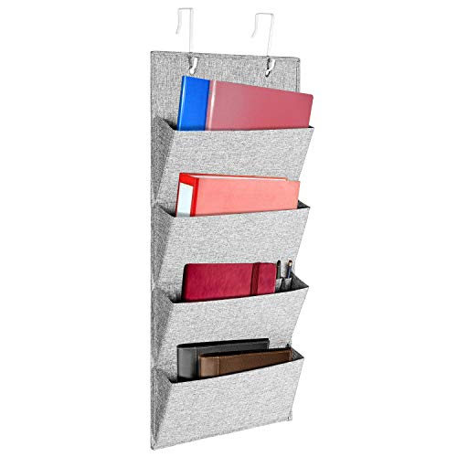 MaidMAX Fabric Over The Door Office Organizer for Wall Mounted File Holder Shelves with 2 Metal Hooks, 4 Pockets, Gray