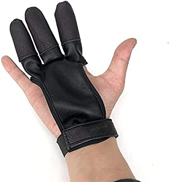 Namvo Archery Glove Three Finger Shooting Hunting Leather Glove Protector apto para la caza con arco largo tradicional