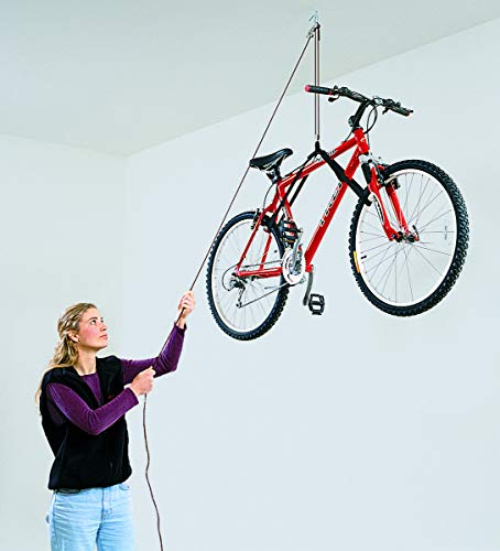 Advantage Bicycle - HARKEN Garage Storage Ceiling Hoist | 1 Point System | for 10ft Ceilings, 45lbs Max Load | 2:1 Mechanical Advantage | Easy Lift, Single-Person, Hanger, Pulley, Bike, Ladder, Wheel Barrel, Tool