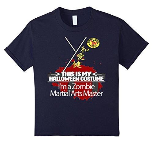 Kids Zombie Martial Arts Master Halloween Costume T-shirt 12 Navy