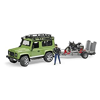 Bruder 02598 Land Rover Station Wagon with Trailer, Scrambler Ducati Cafe, and Rider