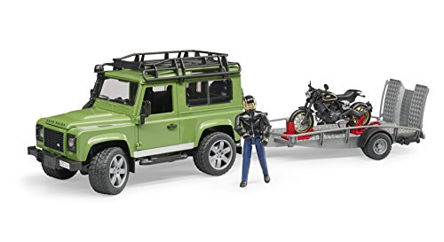 Rider Truck - Bruder Toys Land Rover Station Wagon with Trailer, Scrambler Ducati Cafe