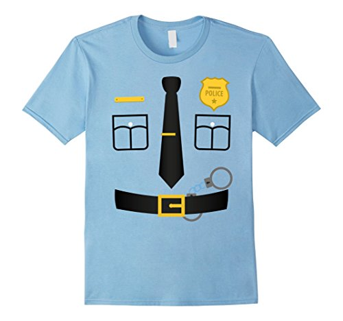 Male Policeman Costume (Mens Policeman Costume T-Shirt Halloween Outfit Kids Adult Tee Large Baby Blue)
