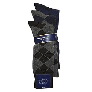 Polo Ralph Lauren Men's 3 Pair Combed Cotton Argyle Sock (10-13, Black/Grey/Navy)