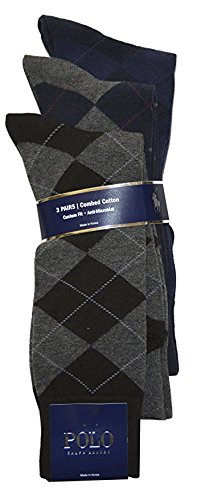 Polo Ralph Lauren Men's 3 Pair Combed Cotton Argyle Sock (10-13, (Lauren Combed Cotton)