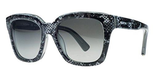 Valentino Sunglasses VAL 667S Sunglasses 049 Black and grey with lace - Sunglasses Valentino Acetate