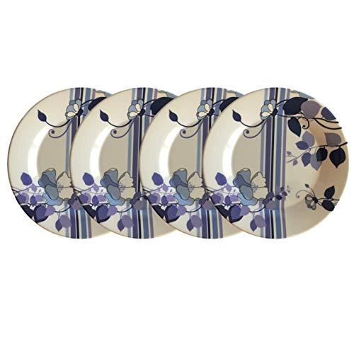 Melamine Dinnerware & Serve Ware - Floral Melamine (White & Purple) Dinner Plates, Salad Plates, Bowls or Serving Bowls (Set of 4, Melamine Floral Dinner Plates 11.5
