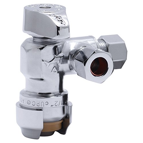 (SharkBite 25558LFA Dual Compression Outlet Angle Stop Valve, 1/2 inch x 3/8 inch x 3/8 inch Plumbing Fitting, Quarter Turn, Water Valve Shut Off, Push-to-Connect, PEX, Copper, CPVC, PE-RT)