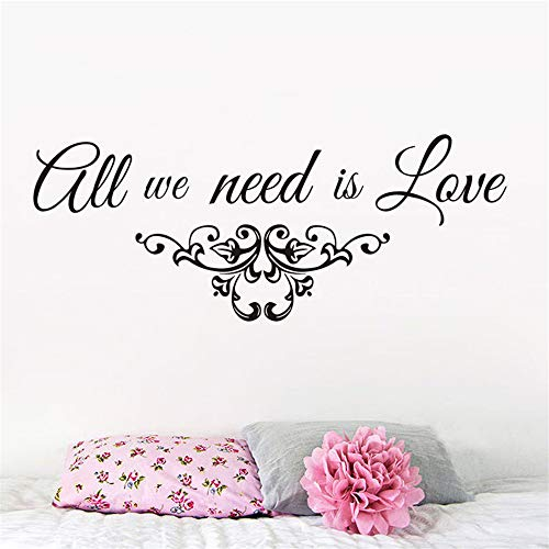 huandu Wall Stickers Quotes Vinyl Art Room Mural Posters All We Need is Love Decals Quote Wedding Party Family Love for Bedroom Living Room -