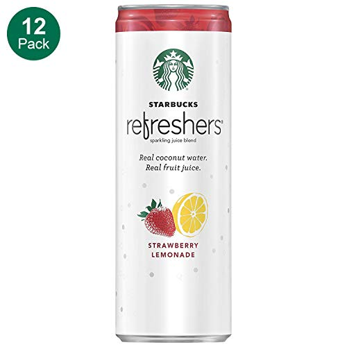 Starbucks Refreshers Sparkling Juice Blends, Strawberry Lemonade with Coconut Water, 12  Fl. Oz, 12 Cans