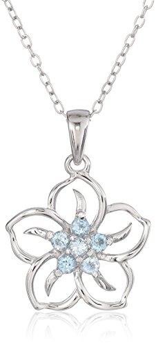 Sterling Silver Genuine Sky Blue Topaz Flower Pendant Necklace, 18