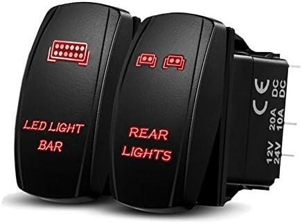 Polaris RZR 1000 Horizontal ORANGE Laser Rocker Switch 20A LED LIGHT BAR