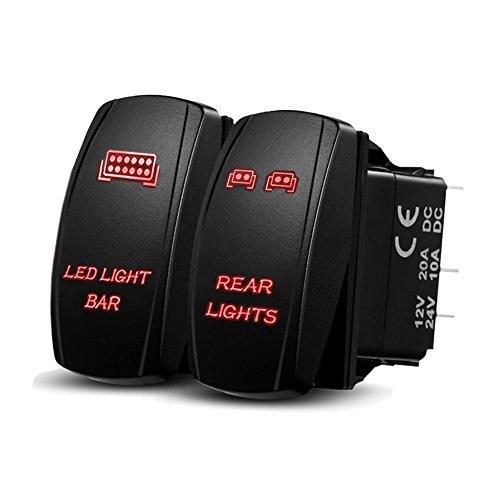 Xislet LED Light Bar Rocker Switches for UTV Polaris Ranger RZR 800-1000 XP Turbo Can Am Commander 800 Maverick X3 Rear Lights Rocker Switch, LED Amber Backlit (Combo Package) (Amber)