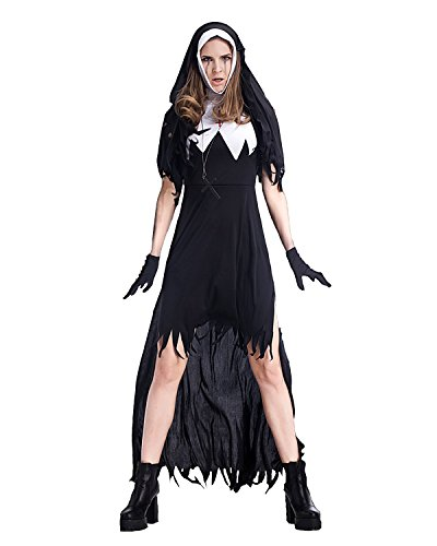 Adult Funny Nun Costumes (Funny Cute Terror Nun Costumes For Women Adult,Sexy Witch Long Clothing)