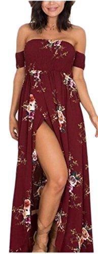 Shoulder Side Beach Dresses Off Red Floral Jaycargogo Womens Wine Split qvPRwnx4x