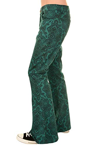 Run & Fly Mens 60s 70s Hendrix Teal Psychedelic Paisley Print Stretch Twill Retro Bell Bottom Flares 36 Regular