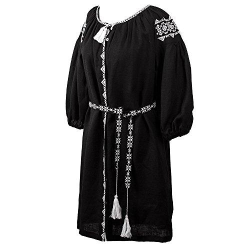 Robe Shirt Classique Femmes Ukrainiennes Ivanna Noir Taille - Xx-large