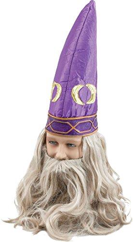 [Adult Fancy Dress Party Merlin Dumbledore Men's Wizard Attached Beard Hat Purple] (Adult Purple Wizard Costumes)
