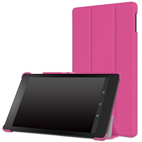 """MoKo Case for Fire HD 8 2015 [Previous 5th Gen ONLY] - Ultra Lightweight Slim-shell Stand Cover with Auto Wake/Sleep for Amazon Kindle Fire HD 8"""" Display Tablet (NOT FIT Fire HD 8 2016), MAGENTA"""