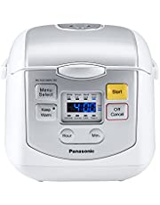 Panasonic 4 Cup (Uncooked) Microcomputer Controlled Rice Cooker, White/Silver