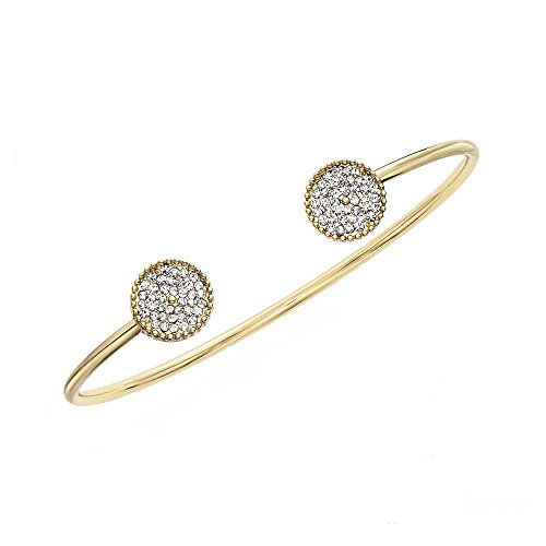 Collection Bijoux 14K Gold, Rose Gold, or Rhodium Plated Open Bangle Bracelet with White Crystal Circles - Open Circle Bangle