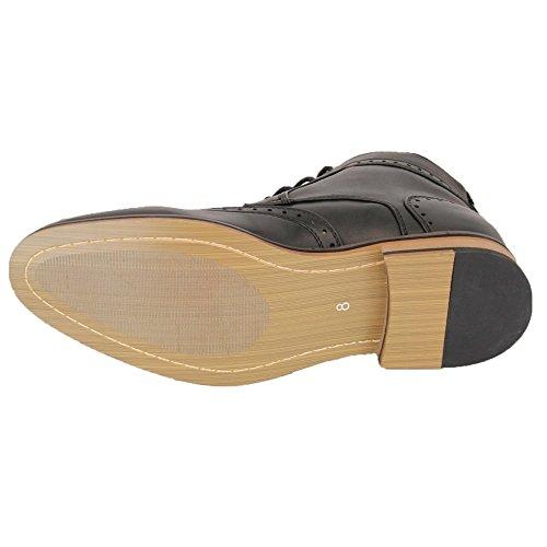 Voeut Mens New Sava Brogue Ankle Leather Look Boots Black Black 0FyTJ1ArFe