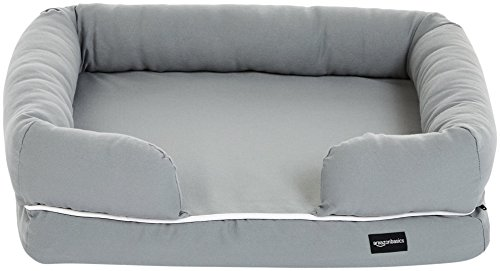 - AmazonBasics Small Pet Dog Sofa Bolster Lounger Bed - 25 x 20 x 6.5 Inches, Grey