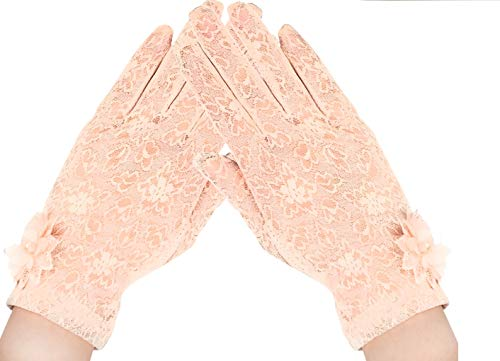 Tea Party Gloves for Women Floral Lace Wedding Gloves 1920s Flapper Evening Opera Gloves (1-Champagne)]()