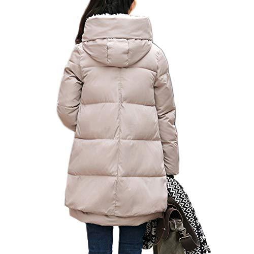 Inverno Mantieni Beige Ioshapo Cappuccio Cappotto Caldo Cerniera Manica Femminile Lunga Abbigliamento Sciolto dxwqzx7