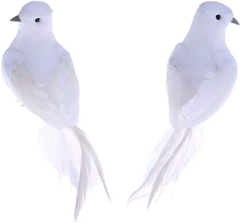2 Pieces Artificial Foam Feather White Birds Decorative Fake Pigeon Lover Peace White Doves Simulation Miniatures Doves Statue for DIY Craft Home Ornaments Garden Wedding Décor
