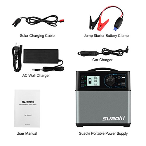Suaoki 400Wh Solar Power Generator Supply Solar//AC Outlet//Car Jump Starter 4*USB
