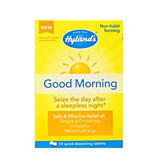 Jet Lag Homeopathic Relief Remedy Tablets by Hyland's Good Morning, Quick Dissolving Natural Relief of Fatigue, Irritability and Mental Lethargy, 50 Count