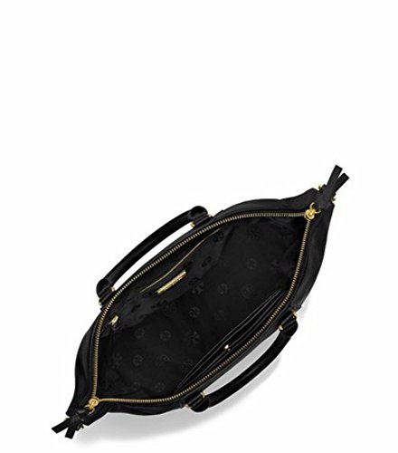 Tory Burch Bombe T Medium Slouchy Leather Satchel Bag Women's Handbag (Black)