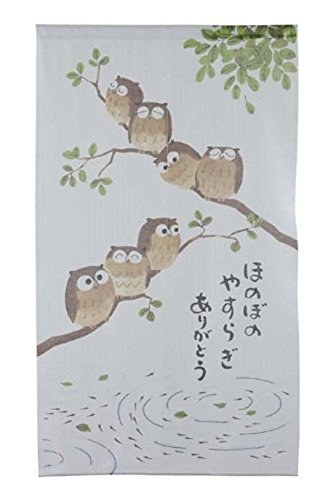 Noren Japanese Doorway Curtain Tapestry 7 Owl Yasuragi 85x150cm