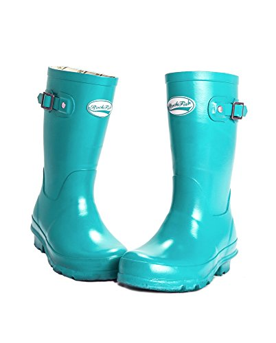 Boots Racing on Rubber Kids Off Natural Wellington Girl Green Easy Rockfish Slip Boy fqOgAn4