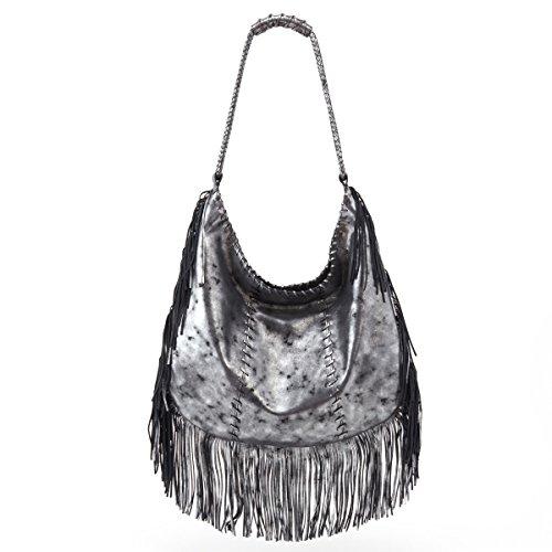 Gypsy Smoke Shoulder HOBO Fringe Bag in PqRgOwT
