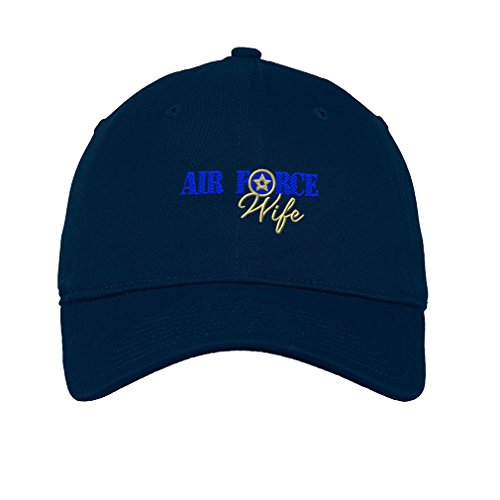 Speedy Pros Air Force Wife Logo Embroidery Unisex Adult Flat Solid Buckle Cotton 6 Panel Low Profile Hat Cap - Navy, One Size