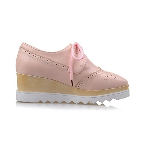 AllhqFashion Damen PU Leder Rein Schnüren Quadratisch Zehe Mittler Absatz Pumps Schuhe Pink
