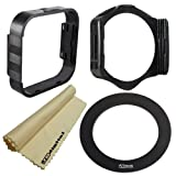 52mm Adapter Ring + Square Lens Hood + Square Filter Holder + JB Microfiber Lens Cleaning Cloth for Cokin P Series System