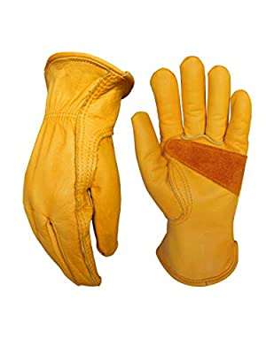 Leather Work Gloves for Gardening/Cutting/Construction/Motorcycle/Farm, Men & Women, Cowhide Work Gloves