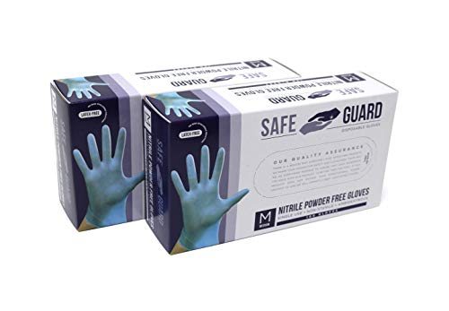 Safeguard Nitrile Disposable Gloves, Powder Free, Food Grade Gloves, Latex Free, 2 Pack of 100 Pc. Dispenser Pack Box…